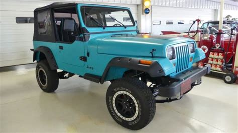 jeep wrangler turquoise for sale 1993 jeep wrangler s 197267 turquoise suv i4 2 5l