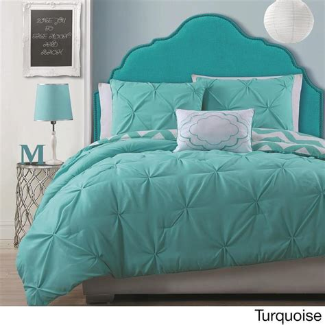 modern teen girls turquoise reversible chevron pintucks comforter bedding set ebay