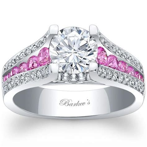 barkev white gold pink sapphire engagement ring