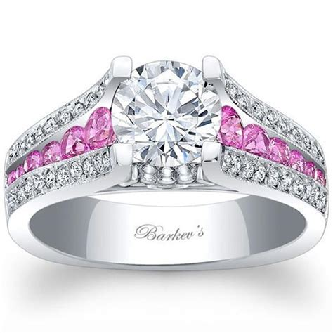 Barkev White Gold Pink Sapphire Diamond Engagement Ring