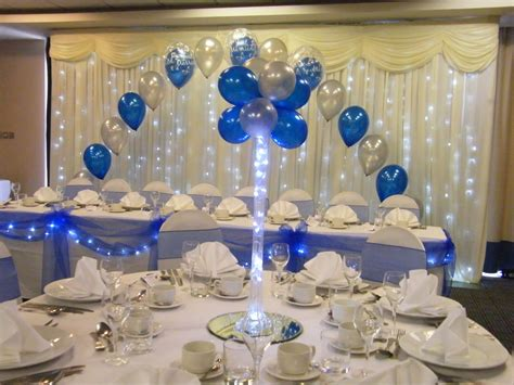 table decorations blue and silver vase balloon tree in royal blue and silver with table