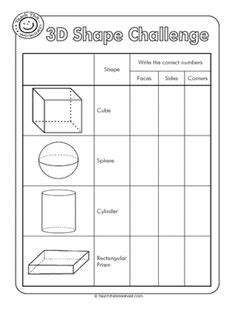 Drawing 3d Shapes Worksheet by Math Shapes Geometry On 3d Shapes Geometry