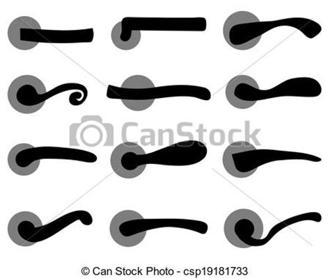 black silhouettes of door handles vector illustration vectors search clip art illustration