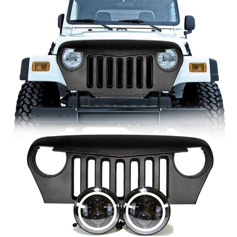 jeep tj led projector headlights halo grille combo