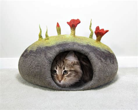 cat bed pattern felted cat bed tutorial cat cave pattern instant pdf