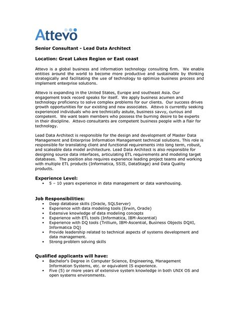 Sle Resume For Data Warehouse Analyst Data Warehouse Architect Sle Resume Thesis Statements For Essays
