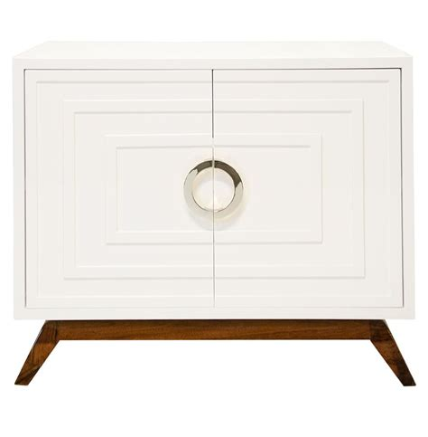 White Lacquer Media Cabinet by Harrison Regency White Lacquer Nickel Media