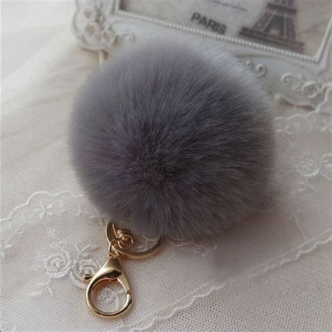 Grey Furball Bag Charm 1000 images about key chains on cars lobster