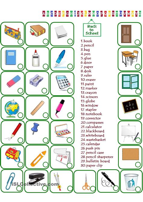 Le Numbers 1to 20 K2 classroom objects clipart 53