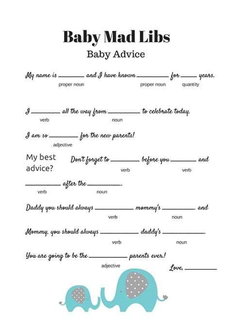 free printable bridal shower mad libs game free baby mad libs game baby advice baby shower ideas