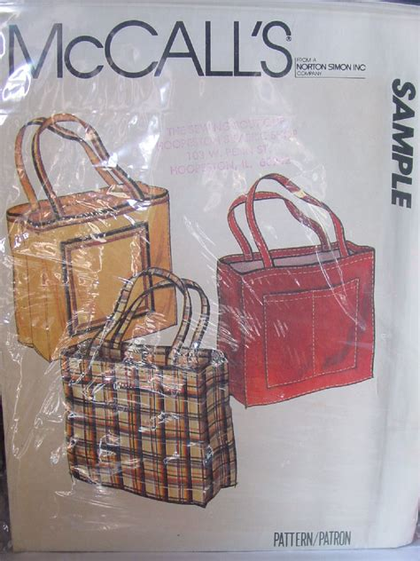 tote bag pattern mccalls pattern mccall s tote bag with side pocket sewing patterns