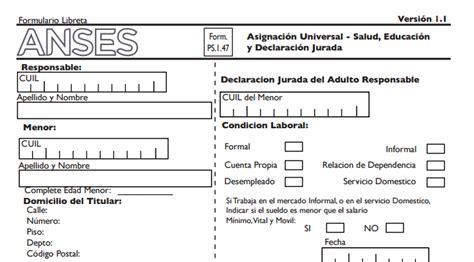 anses libreta nacional asignacion universal por youtube asignaci 243 n universal pasos para presentar el formulario 1 47