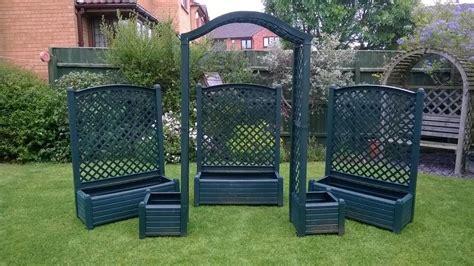 Plastic Garden Planters With Trellis by Trough Planters With Trellis Plastic Resin In Kettering