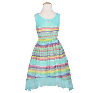 Bonnie jean aqua multi stripe spring summer dress girl 7 16 big