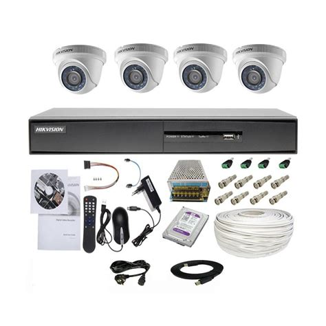 Paket Dvr 4 Channel 4 Turbo Hd Hd Mantap jual paket komplit cctv ekonomis hikvision 4 turbo hd indoor 2 0mp harga