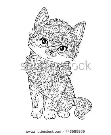 sitting kitten  zentangle style  vector hand drawn