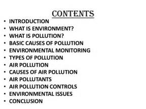 Air Pollution Essay Conclusion by Seminar On Environmental Issues Air Pollution And Controls