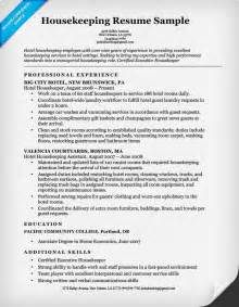 Resume Template For Housekeeping Housekeeping Resume Sle Resume Companion