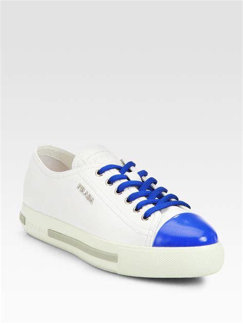 prada white sneakers prada bicolor leather laceup sneakers in white white blue