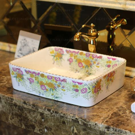 floral bathroom sinks white rectangle porcelain bathroom sinks colorful floral single bowl