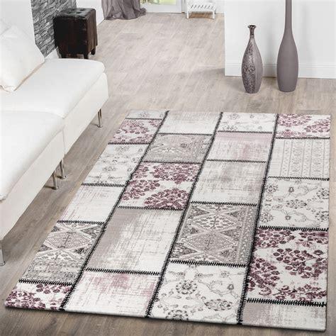 teppich shabby moderner kurzflor teppich patchwork shabby chic meliert