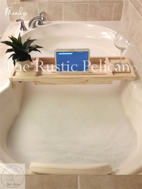 wooden bathtub caddy items similar to ipad reclaimed wood bathtub caddy