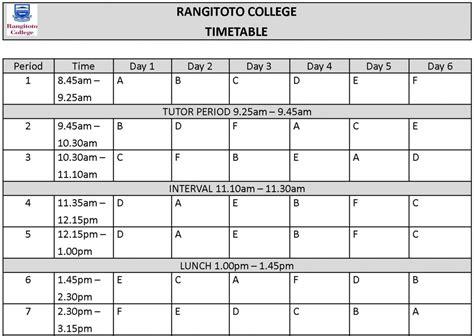 timetable
