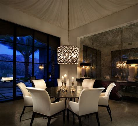 kitchen and dining room lighting ideas contemporary dining room with high ceiling pendant light