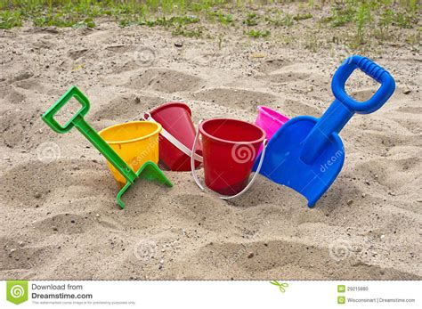 Fan Sanden colorful children toys and sand stock photo