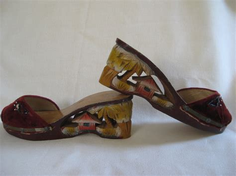 japanese shoes vintage world war ii era wooden carved japanese shoes