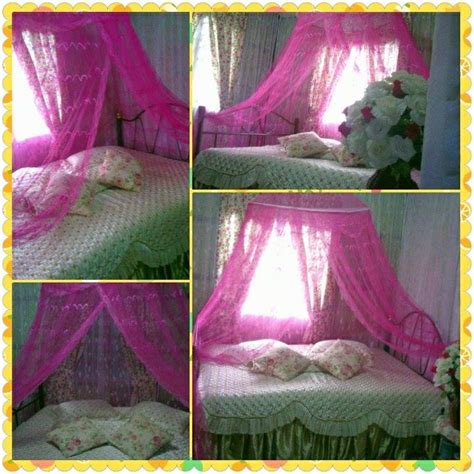 kelambu gantung pink kedai cadar patchwork murah