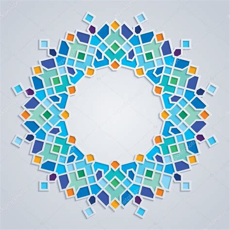 round islamic pattern vector round pattern colorful mosaic islamic geometric ornament