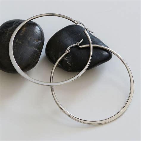 silver stainless steel hoop earrings flat edge 2 3 8 quot 59mm