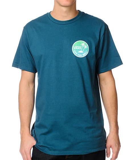 T Shirt Vans Of The Wall Blue vans the wall palm atlantic blue t shirt