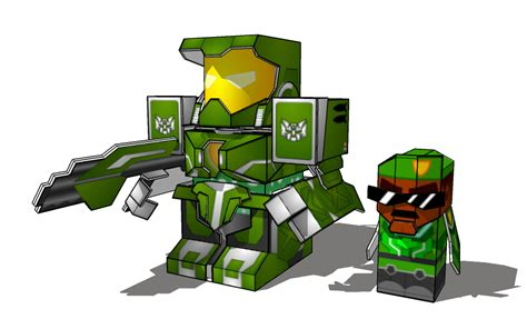 Sketchup Papercraft - battleroller mcblam and maj chin minis sketchup by
