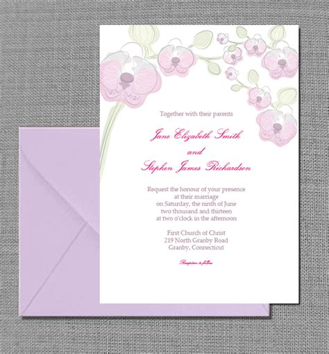 printable invitation kits elegant orchid invitation card wedding invitation