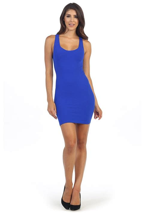 Kurve Women's Sexy Tight Tank Dress One Size Cobalt Blue