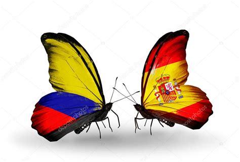 mariposas de espaa y mariposas con banderas de colombia y espa 241 a en alas foto de stock 40916087 depositphotos
