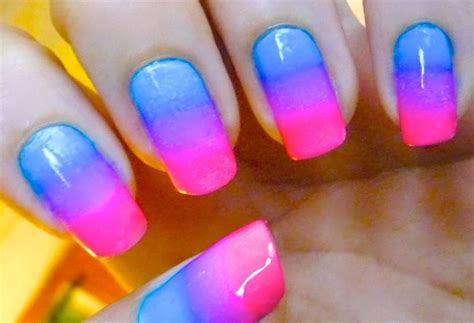 Easy Nail Art Pink And Blue | blue purple and pink gradient nail art video tutorial