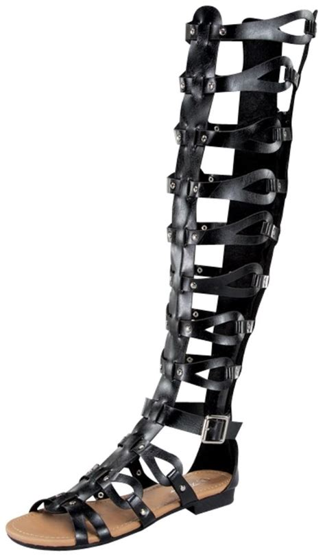 new faux leather strappy knee high gladiator
