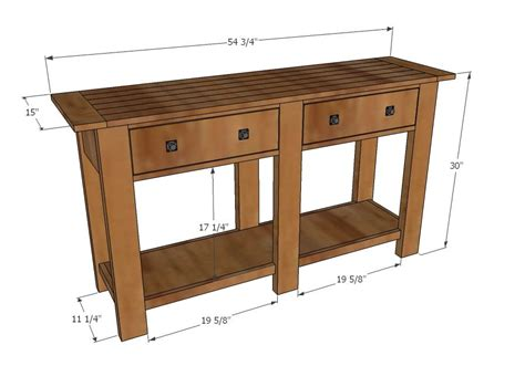 plans for sofa table ana white build a benchwright console table free and