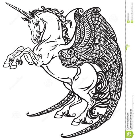 black and white coloring pages of unicorns unicorno alato in bianco e nero illustrazione vettoriale