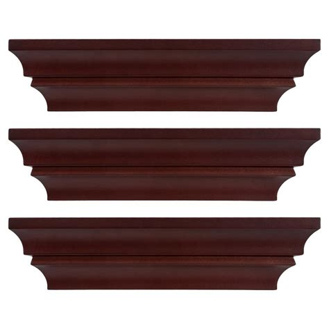madison decorative wall ledge shelf set of 3 espresso kiera grace madison contoured 12 in x 4 in espresso wall