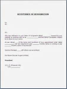 Early Release Notice Letter Acceptance Of Resignation Letter Sle Template Exle Of Relieving