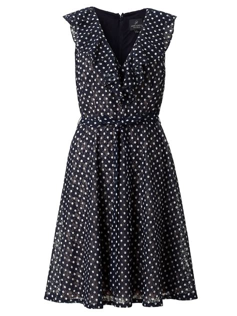 papell ruffle polka dot lace summer dress in blue