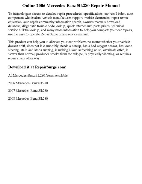 2006 mercedes benz slk280 repair manual online by andrewguild999 issuu