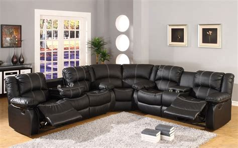 black leather sectional with recliners sf3591 black leather recliner sectional