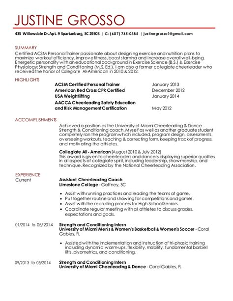 Coach K Resume by Justine Grosso Resume 2015