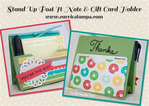 card stin up stand up post it note and gift card holder