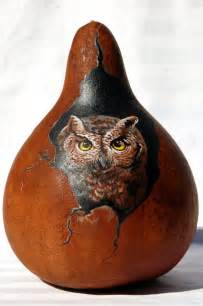 Hand painted screech owl gourd by jypsywings on etsy 65 00